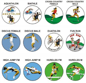 Athletics A-H pk of 5 25mm centres-